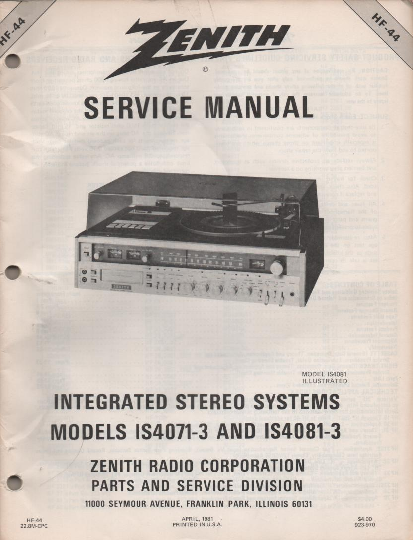 IS4071-3 IS4081-3 Stereo System Service Manual HF44