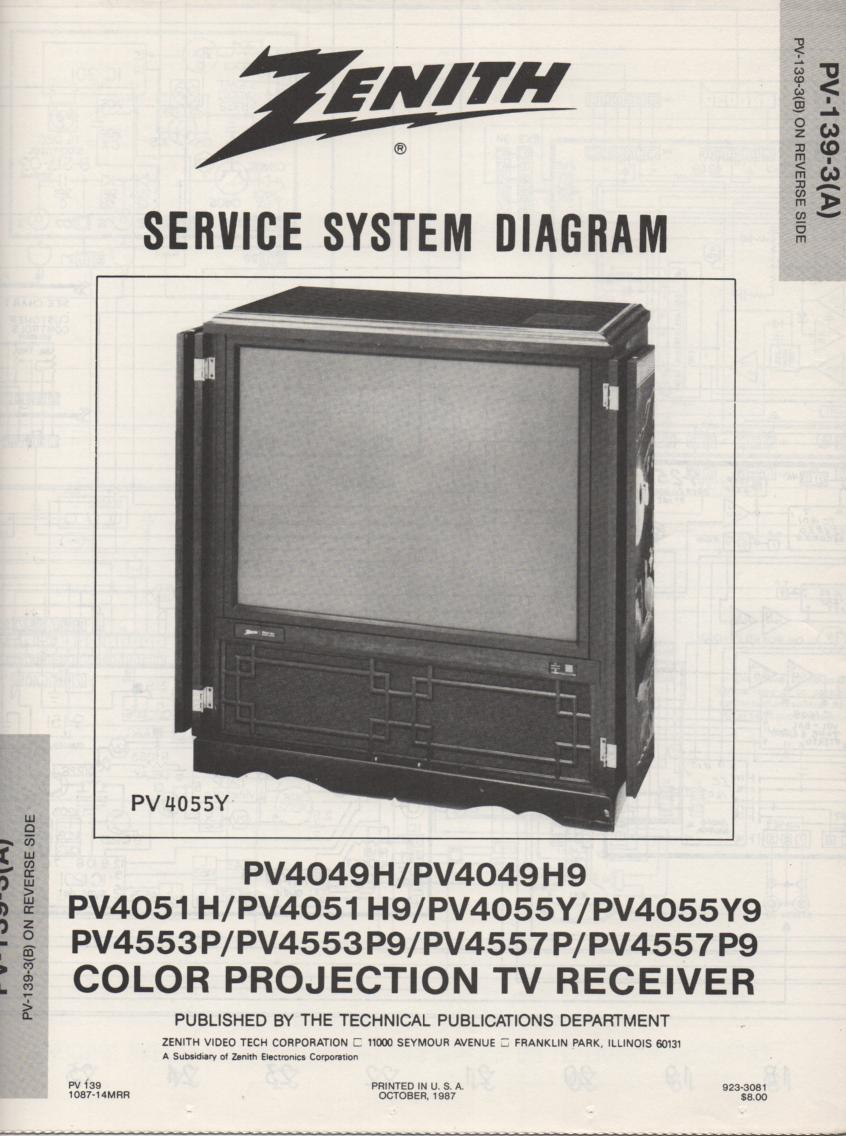 PV4055Y9 TV Schematic .. PV4049H Manual