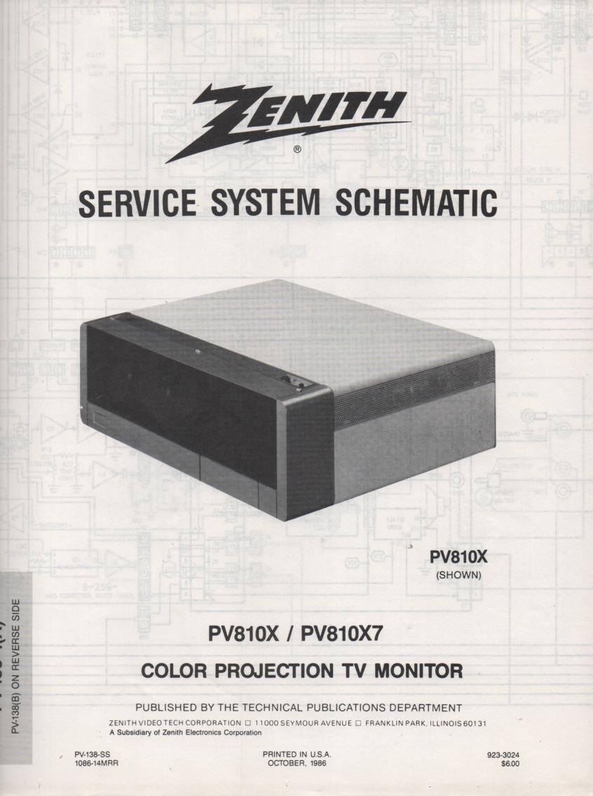 PV810X7 TV Schematic ..  PV810X Manual