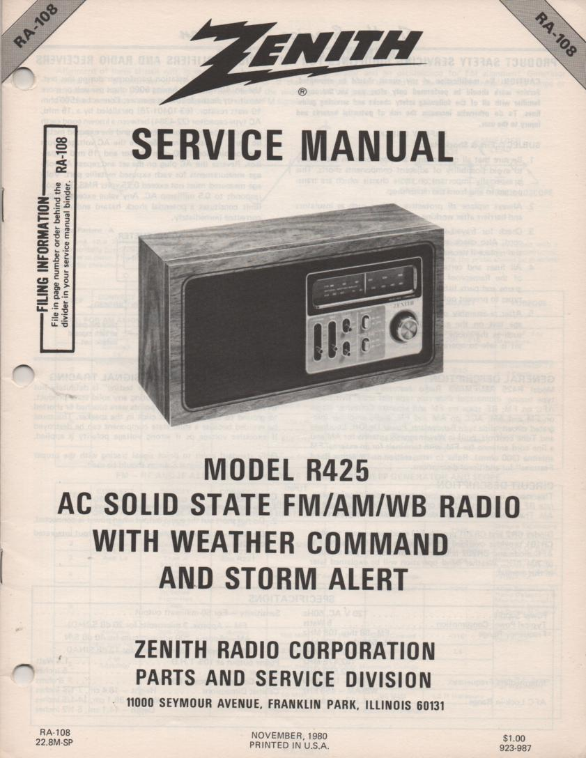 R425 AM FM Weather Radio Service Manual RA108
