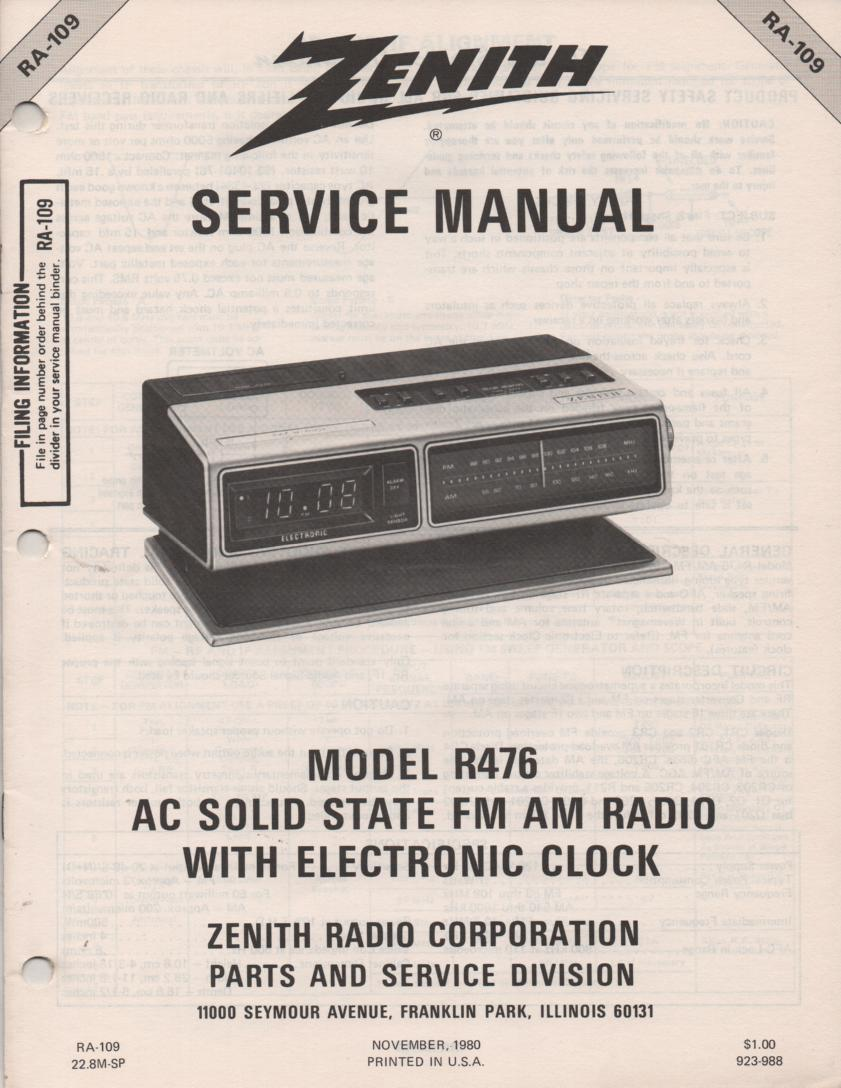 R476 AM FM Clock Radio Service Manual RA109