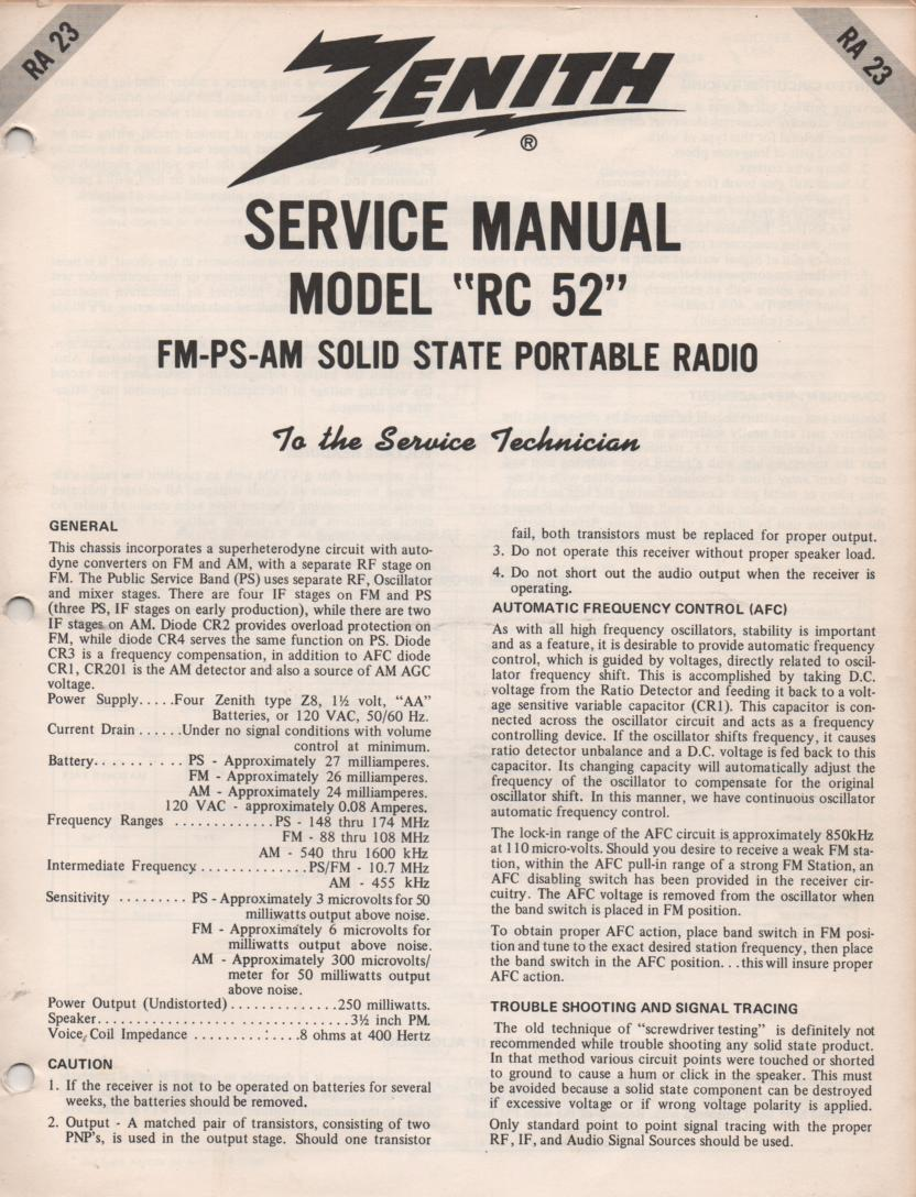 RC52 AM FM Public Safety Radio Service Manual RA23