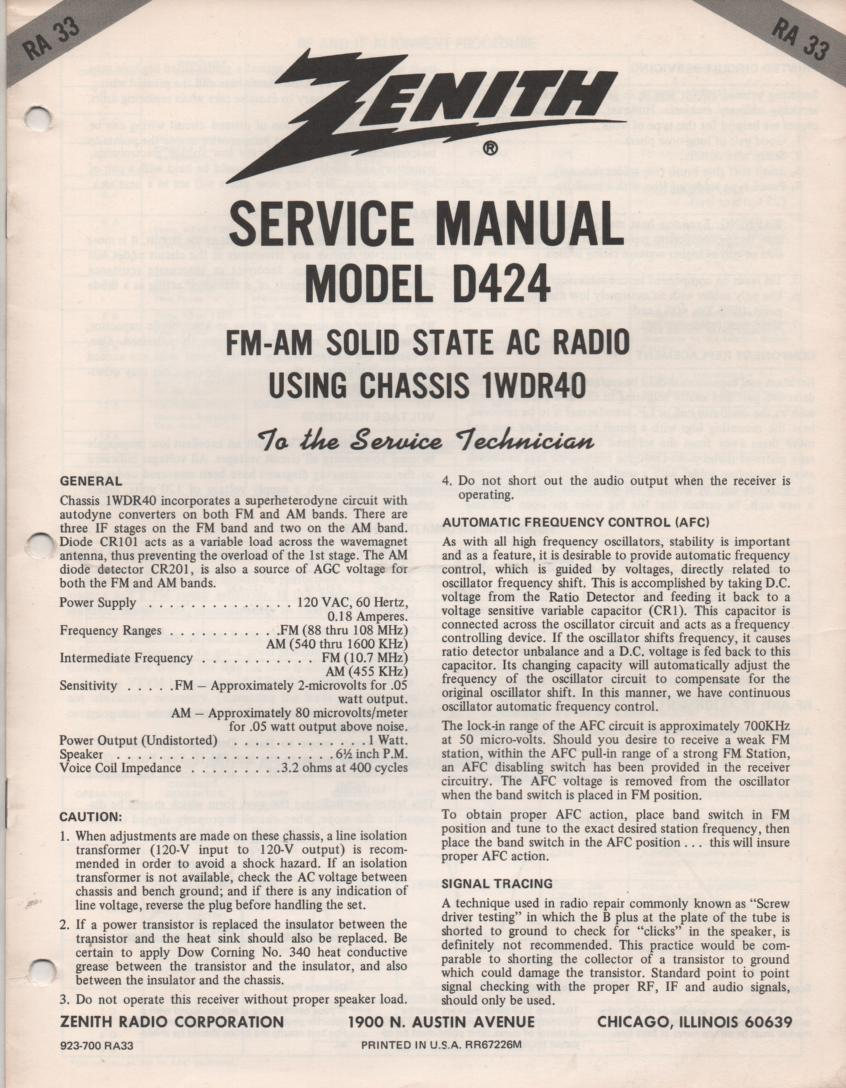 D424 Portable Radio Service Manual RA33.  with chassis 1WDR40