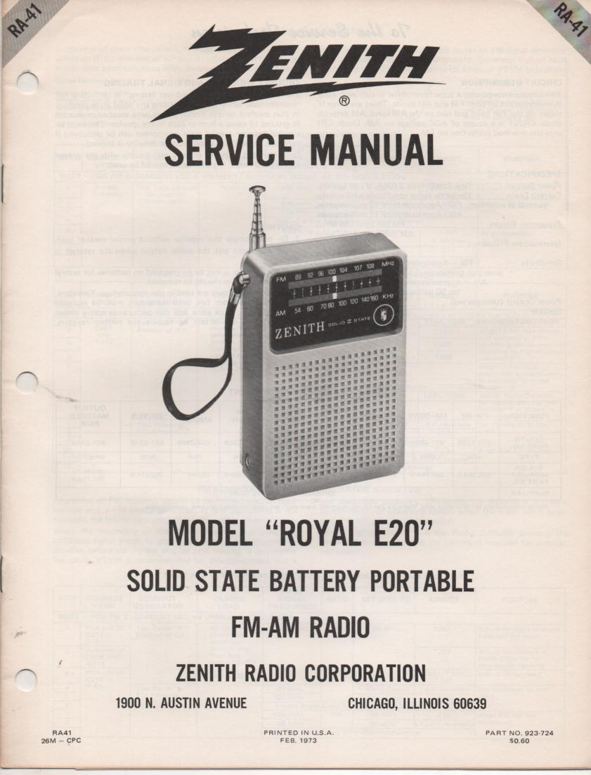 E20 Royal E20 Portable Radio Service Manual RA41.
