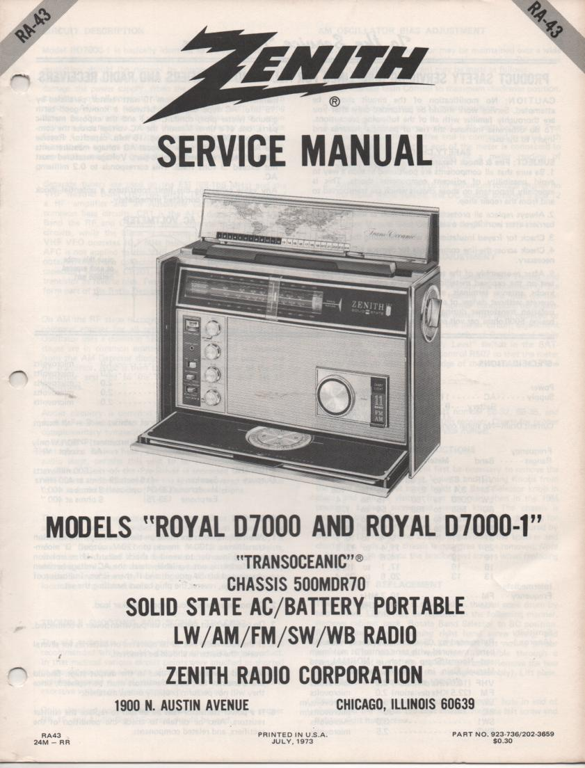 D7000 D7000-1 Royal D7000 D7001 Transoceanic Radio Service Manual RA43...  with chassis 500MDR70