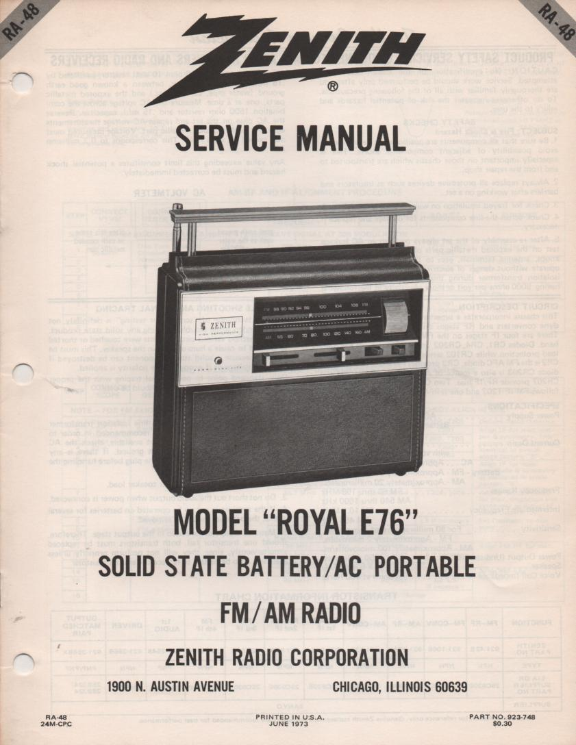 E76 Royal E76 Portable Radio Service Manual RA48