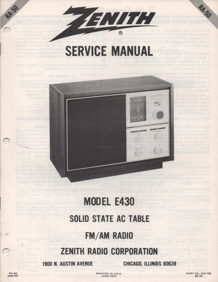 E430 AM FM Table Radio Service Manual RA50