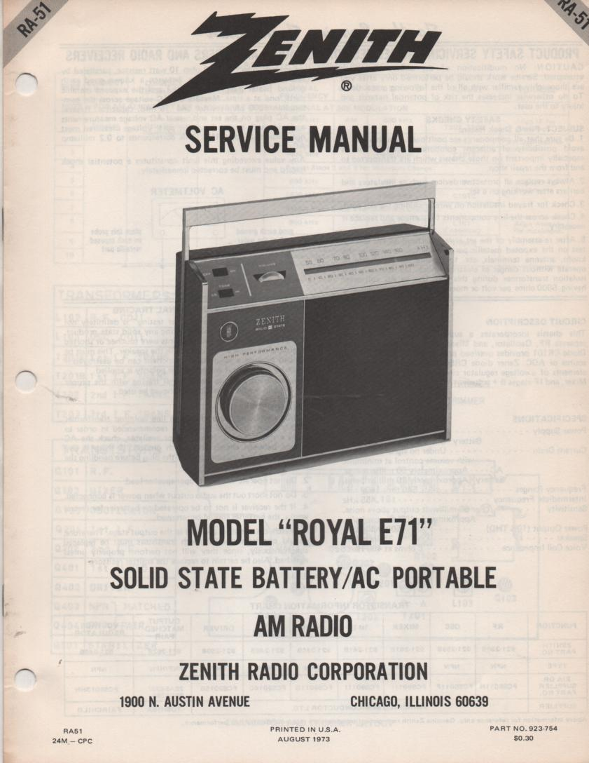E71 Royal E71 Portable Radio Service Manual RA51