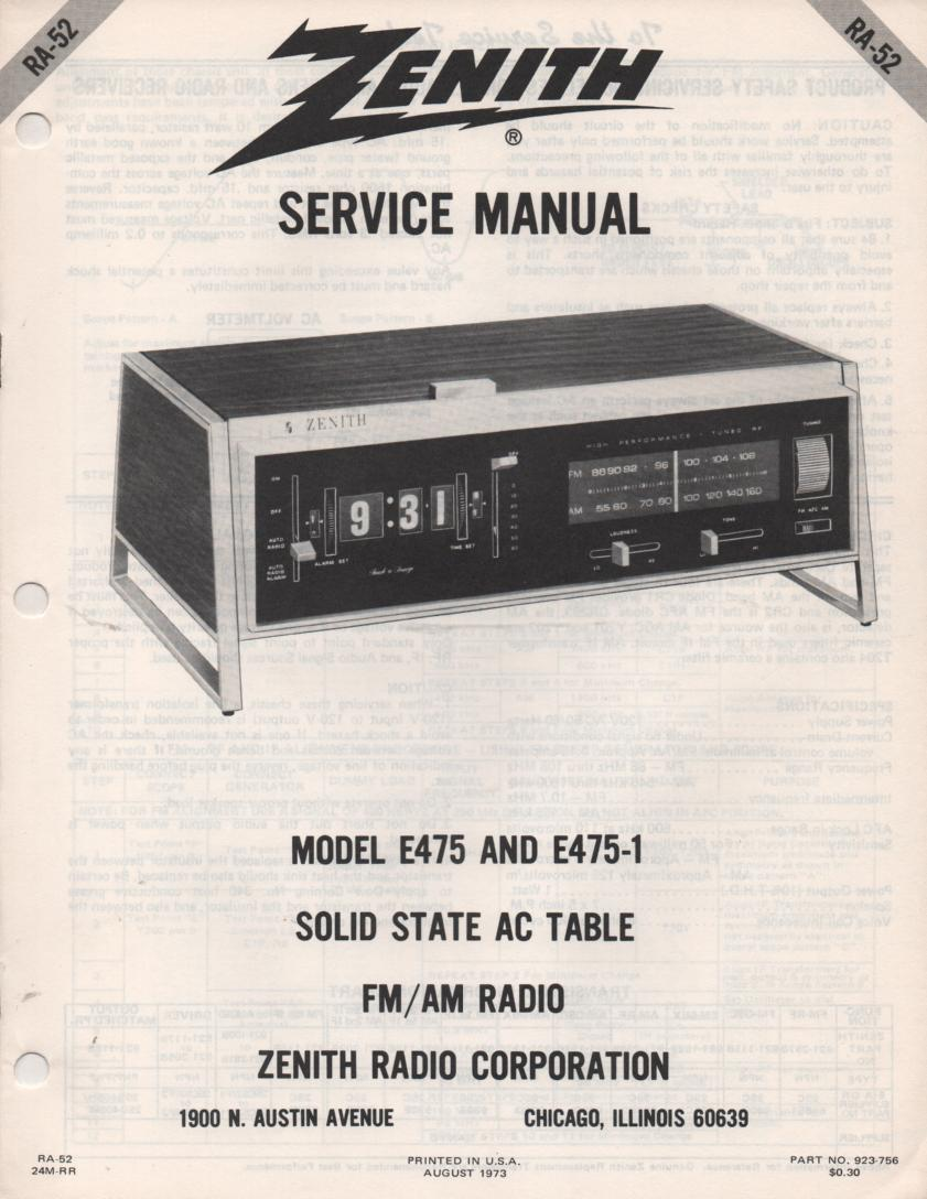 E475 E475-1 Table Radio Service Manual RA52
