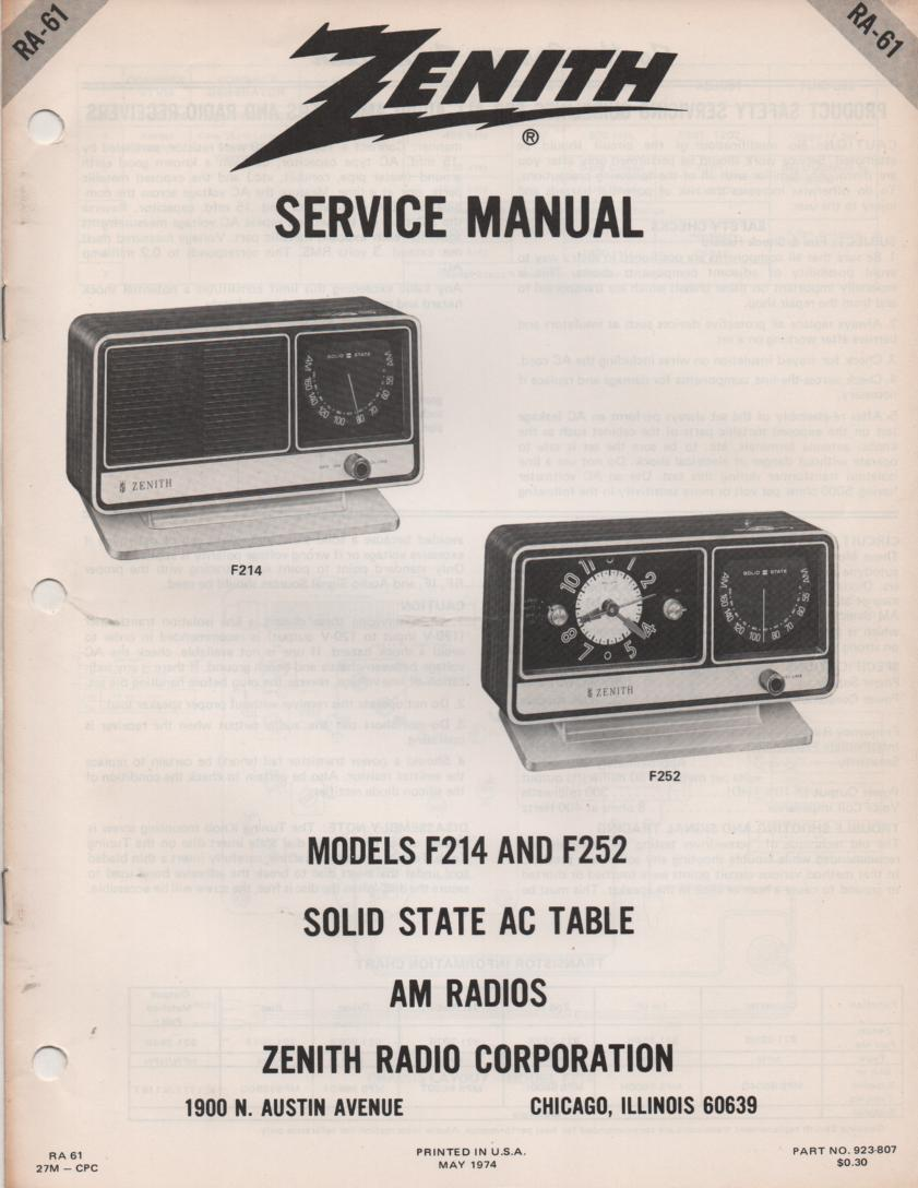 F214 F252 Clock Radio Service Manual RA61