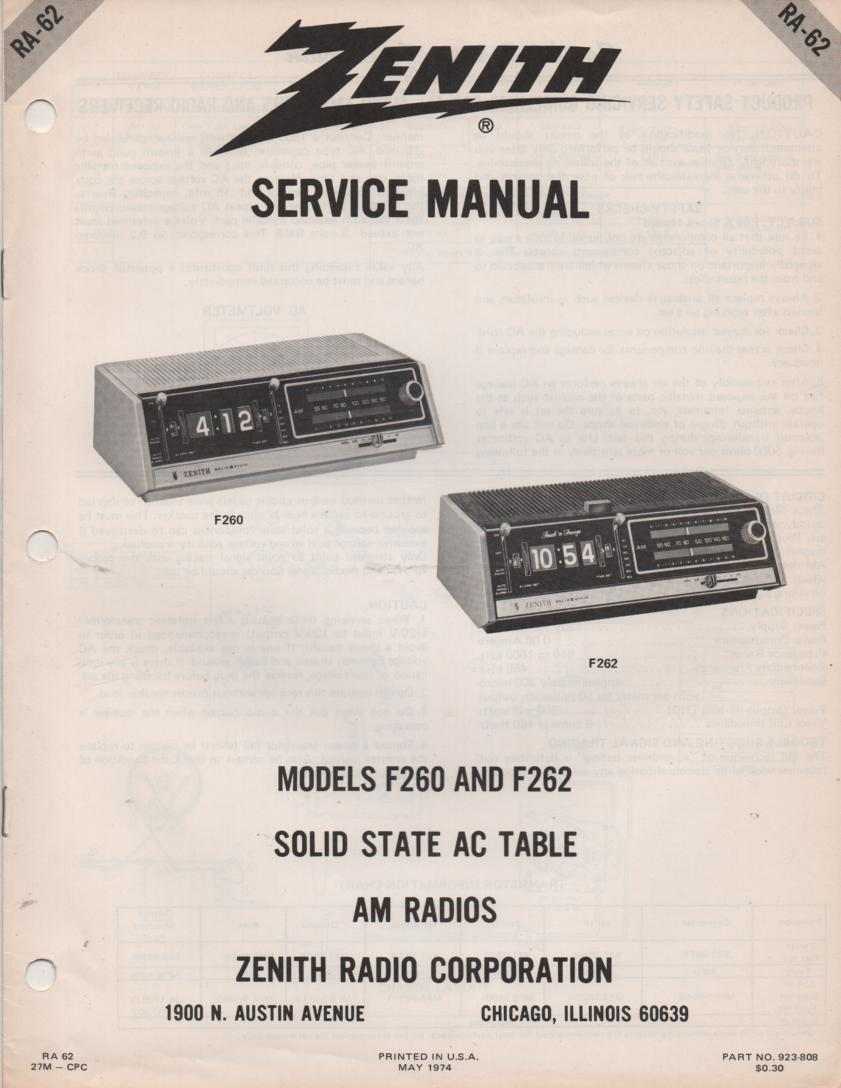 F260 F262 Clock Radio Service Manual RA62