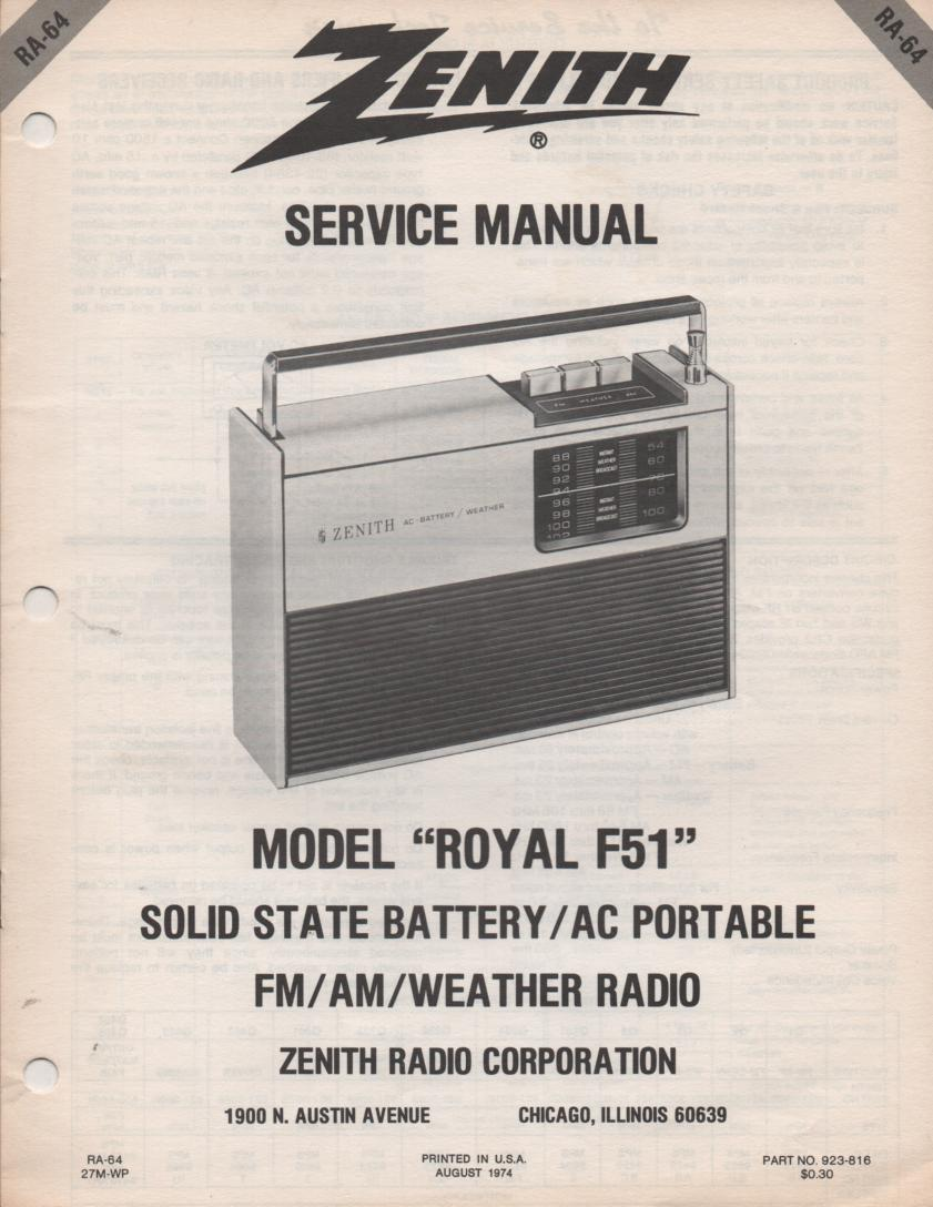 F51 Royal F51 Portable Radio Service Manual RA64