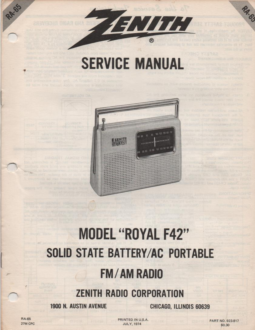 F42 Royal F42 Portable Radio Service Manual RA65