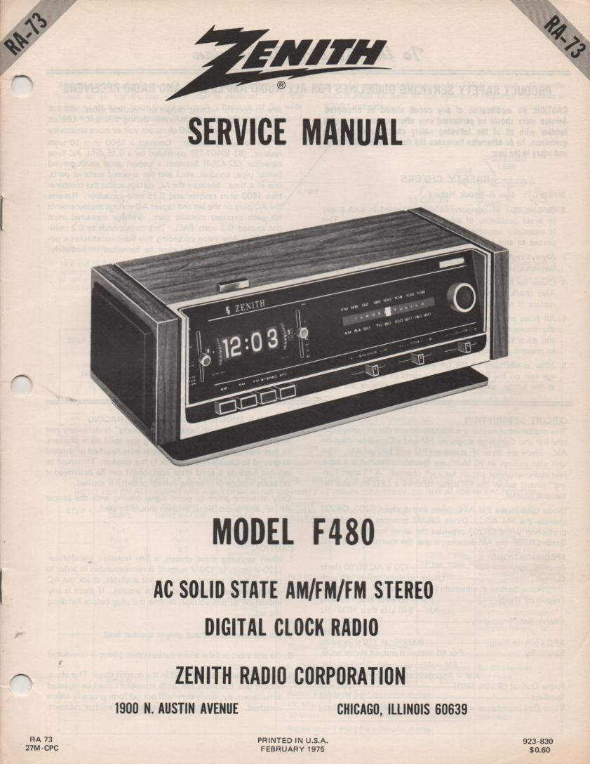 F480 AM FM Clock Radio Service Manual RA73