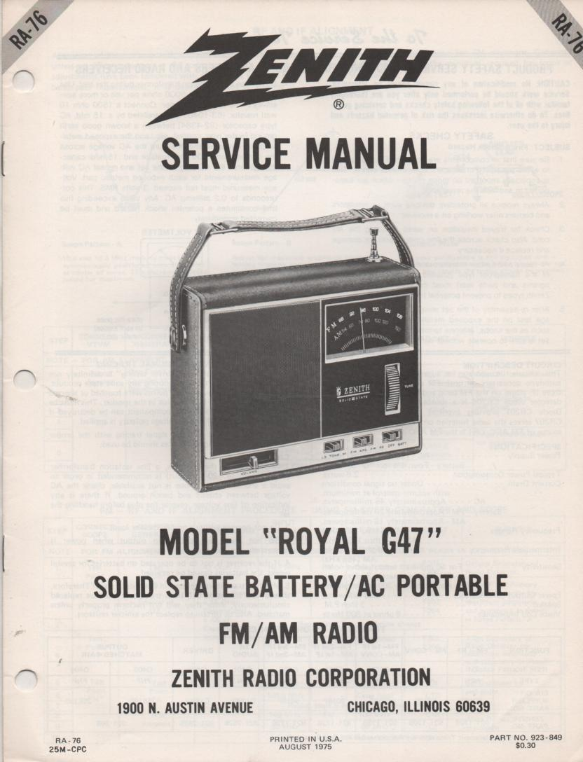 G47 Royal G47 AM FM Clock Radio Service Manual RA76