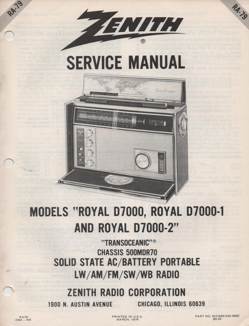 D7000 D7000-1 Royal D7000 D7001 Transoceanic Radio Service Manual RA79...  with chassis 500MDR70