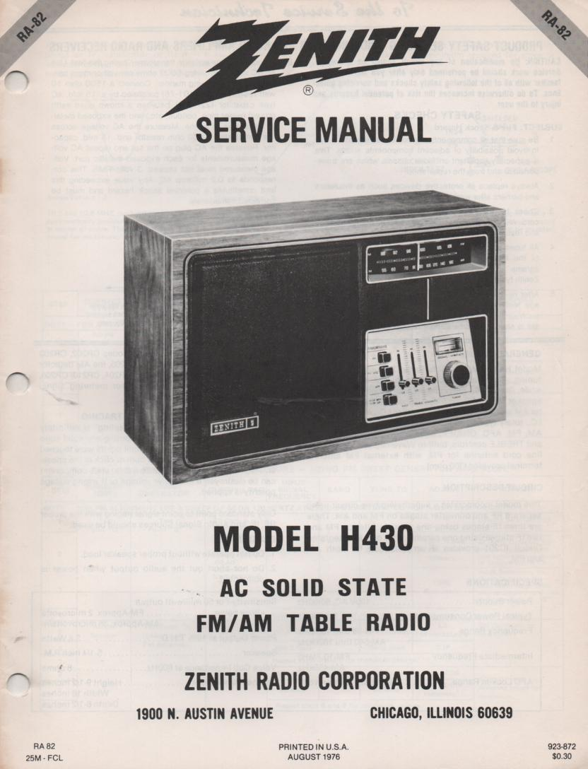 H430 AM FM Table Radio Service Manual RA82