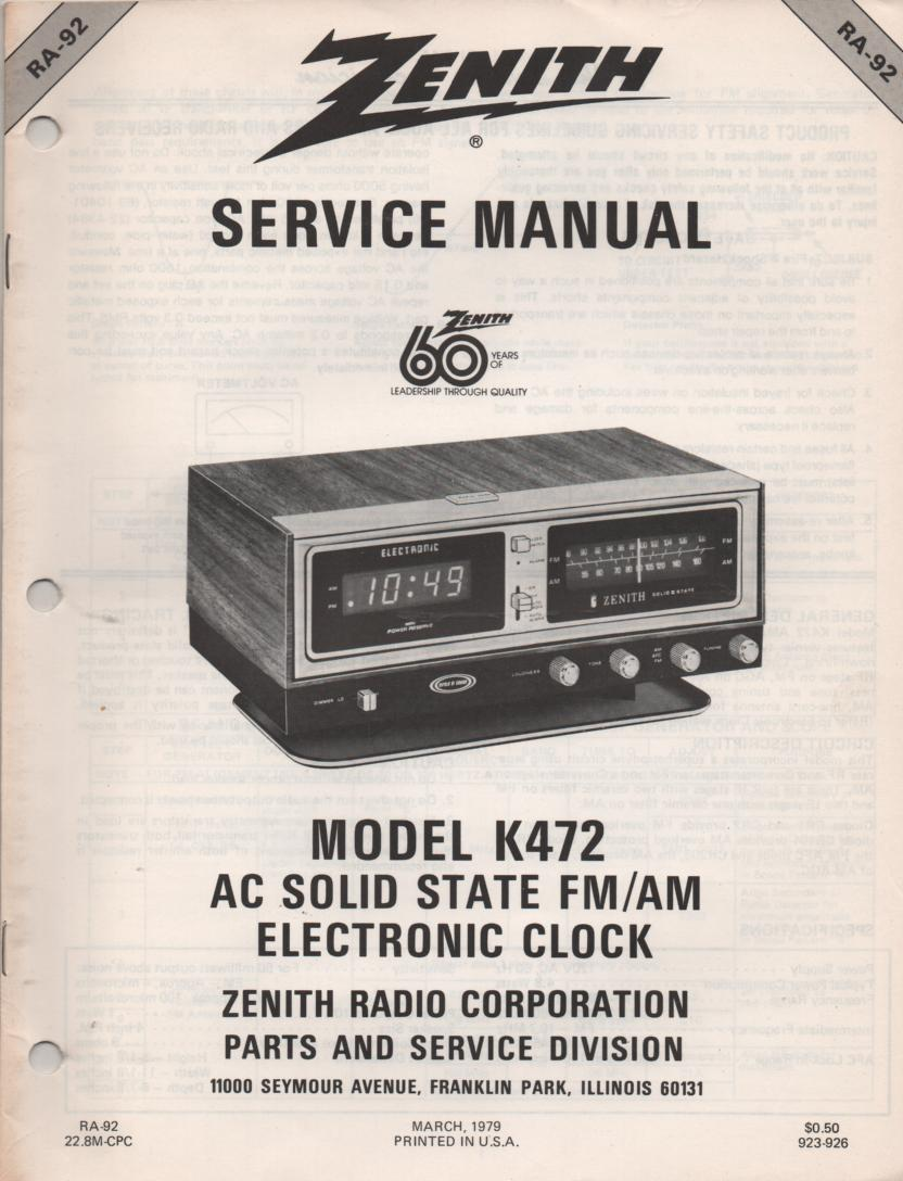 K472 AM FM Table Clock Radio Service Manual RA92