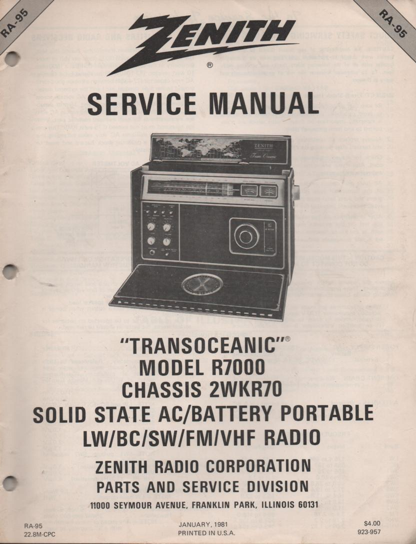 R7000 TransOceanic Multi Band Radio Service Manual RA95..