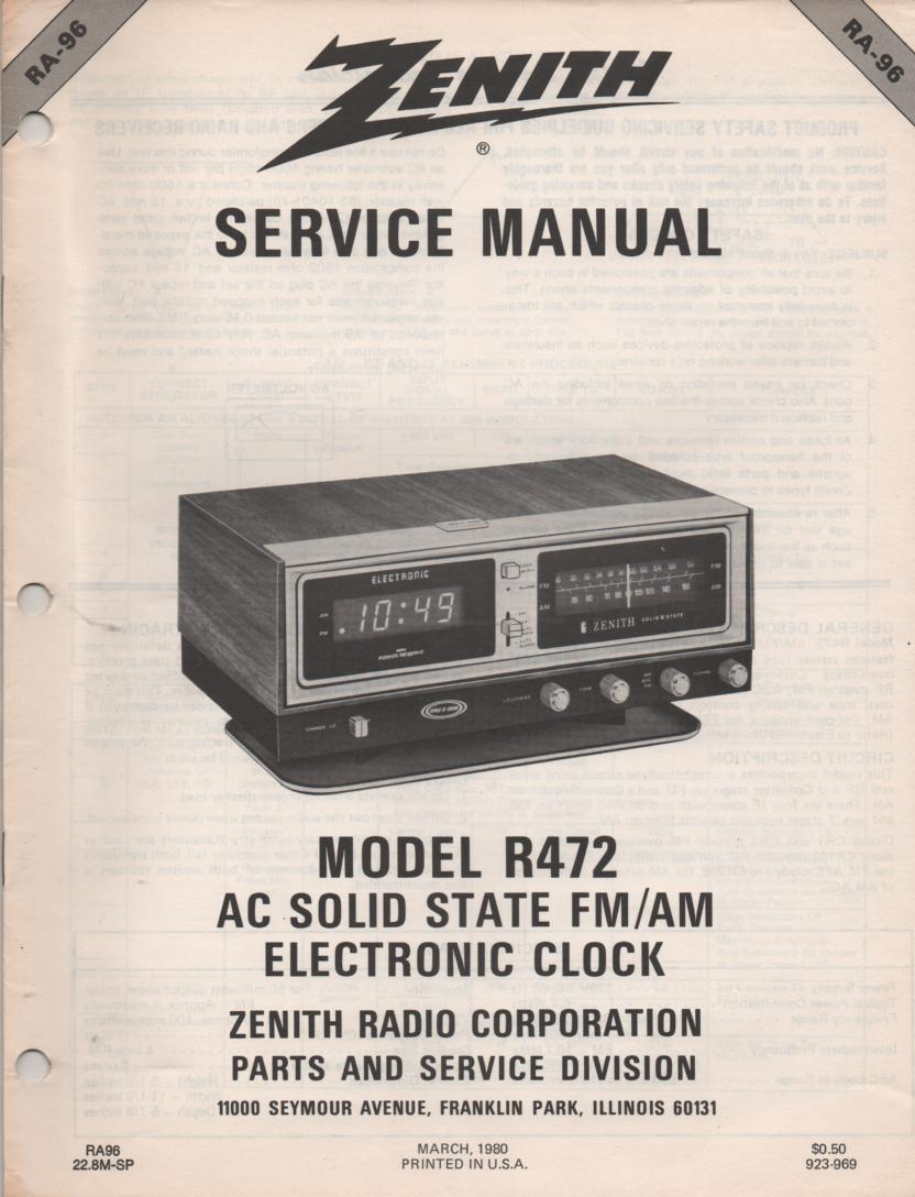 R472 AM FM Clock Radio Service Manual RA96