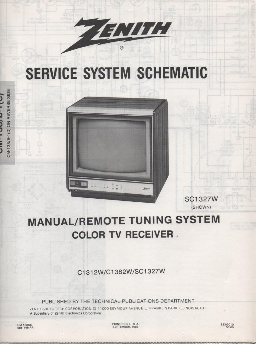 SC1327W TV Schematic ..  S1312W Manual