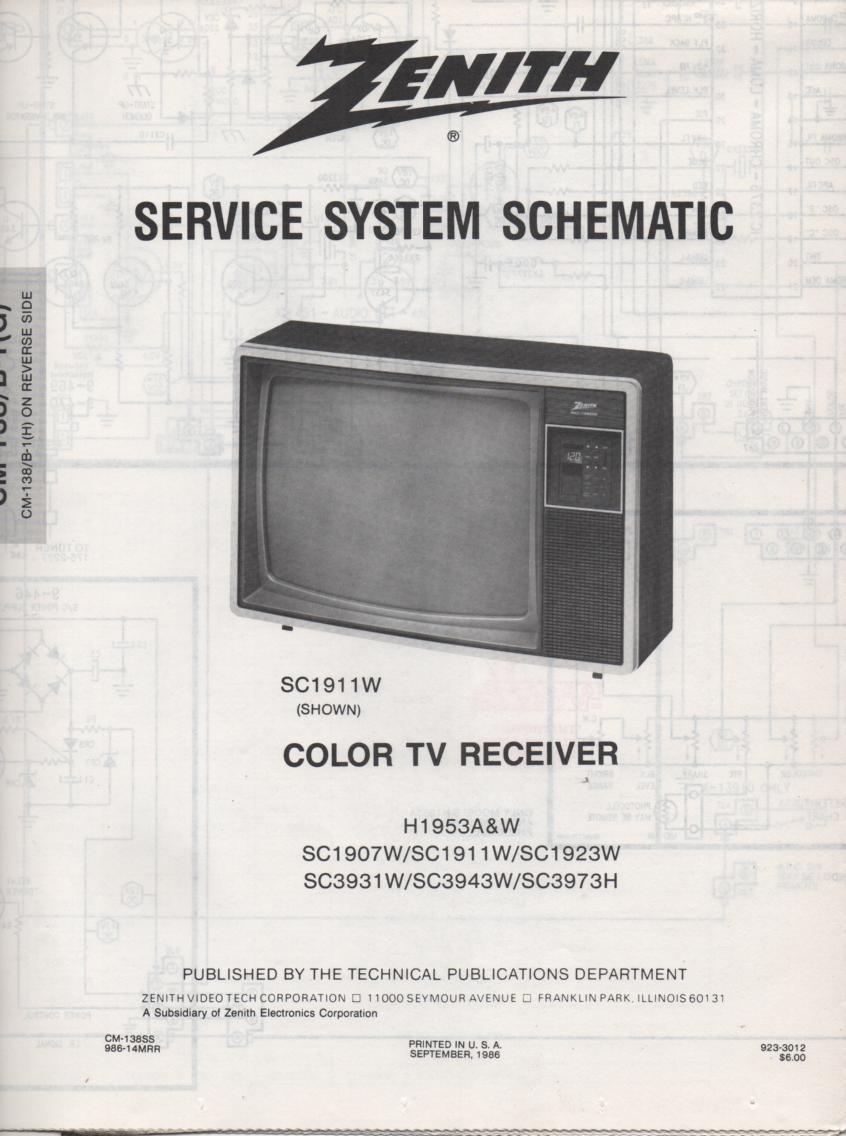 SC1923W TV Schematic ..  SC1907W Manual