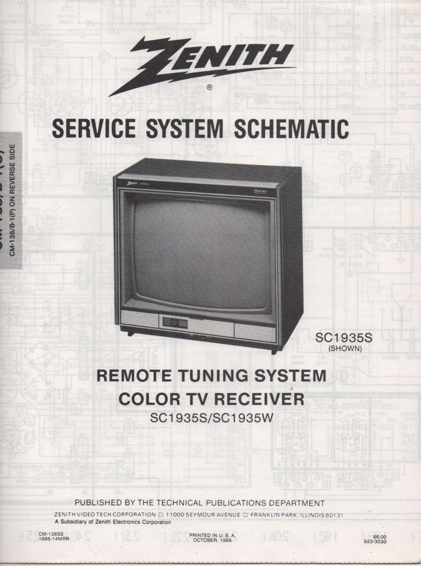SC1935S TV Schematic ..