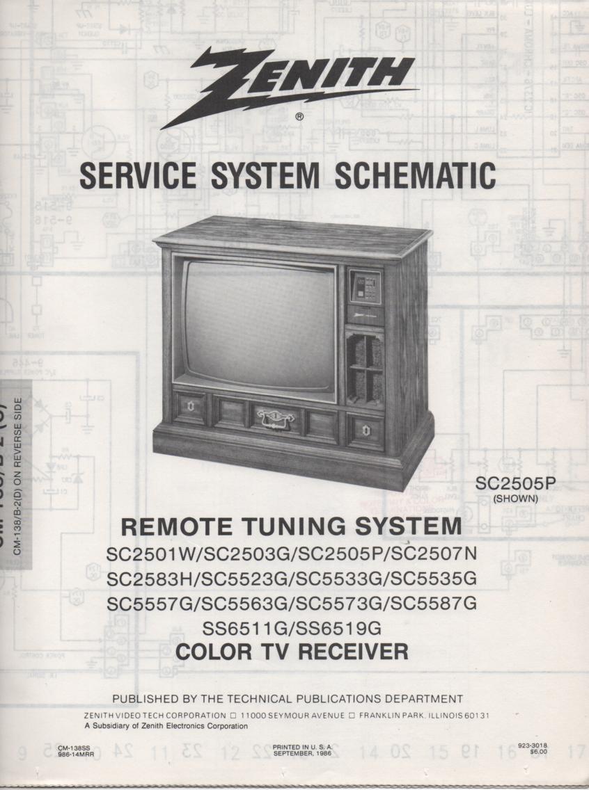 SC2507N TV Schematic .. SC2501W Manual