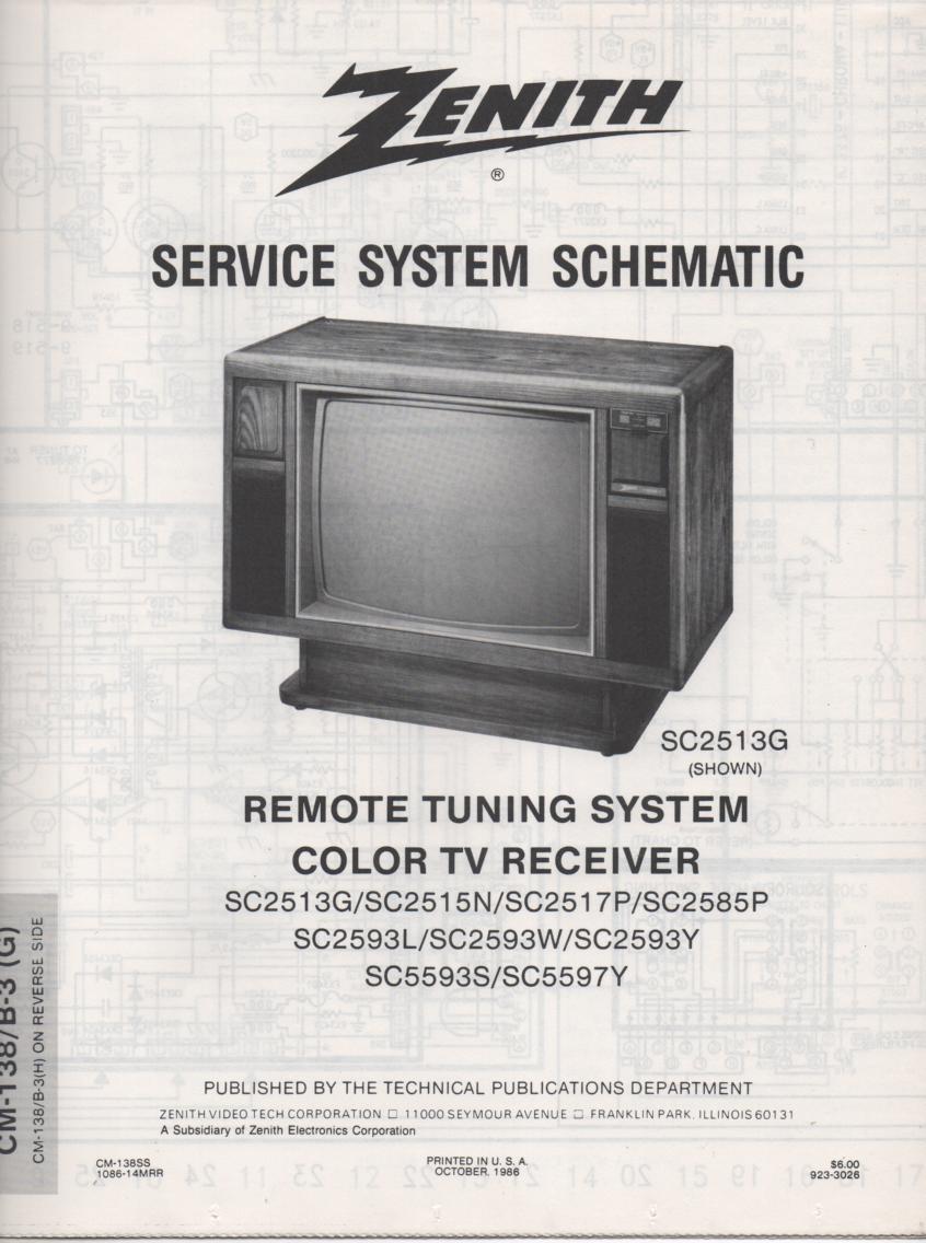 SC2585P TV Schematic ..  SC2513G Manual