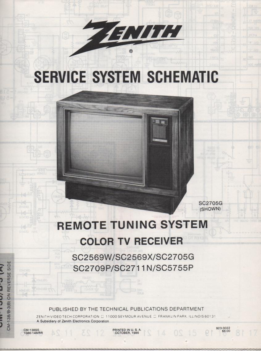 SC2705G TV Schematic ..  SC2569W Manual