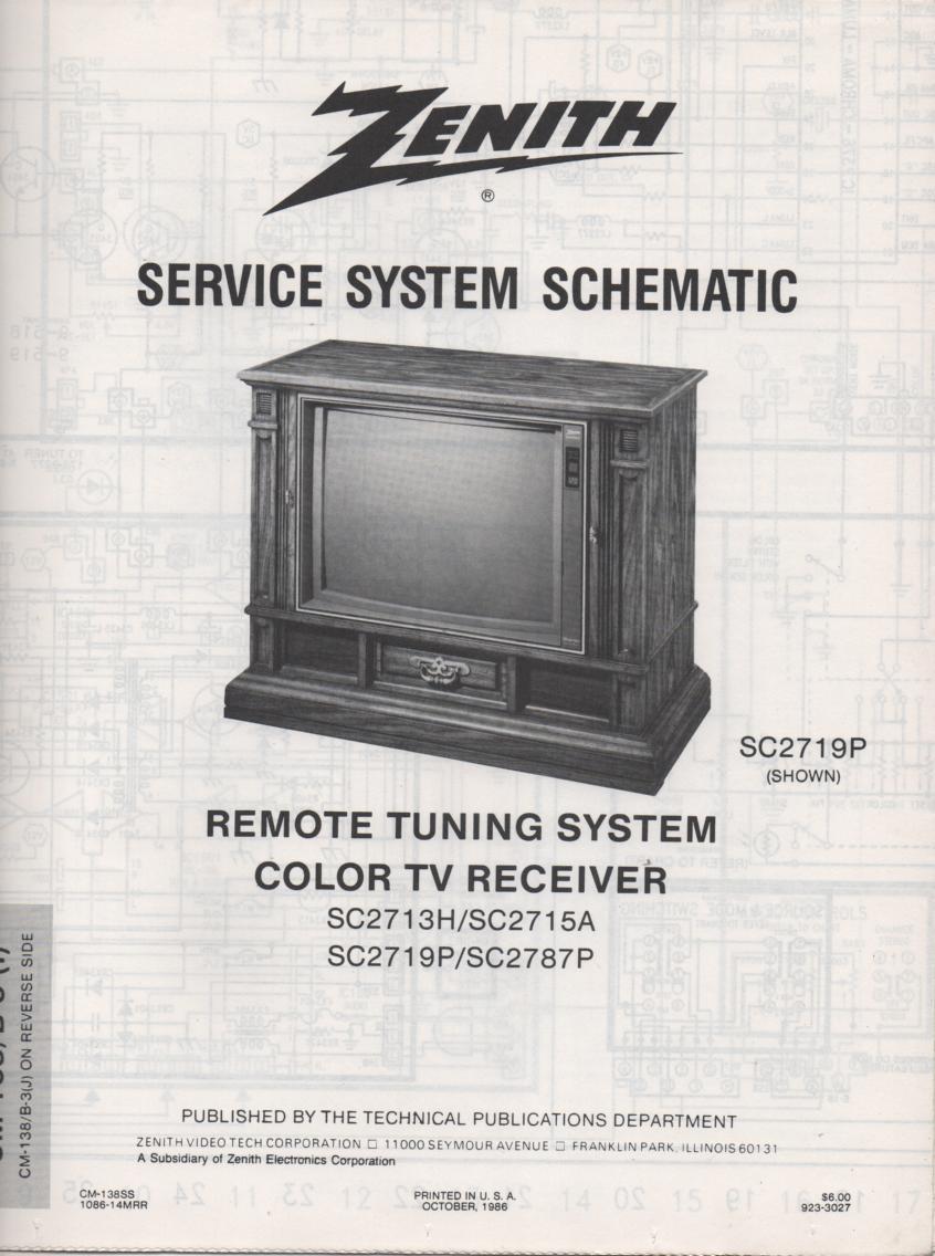 SC2787P TV Schematic ..  SC2713H Manual