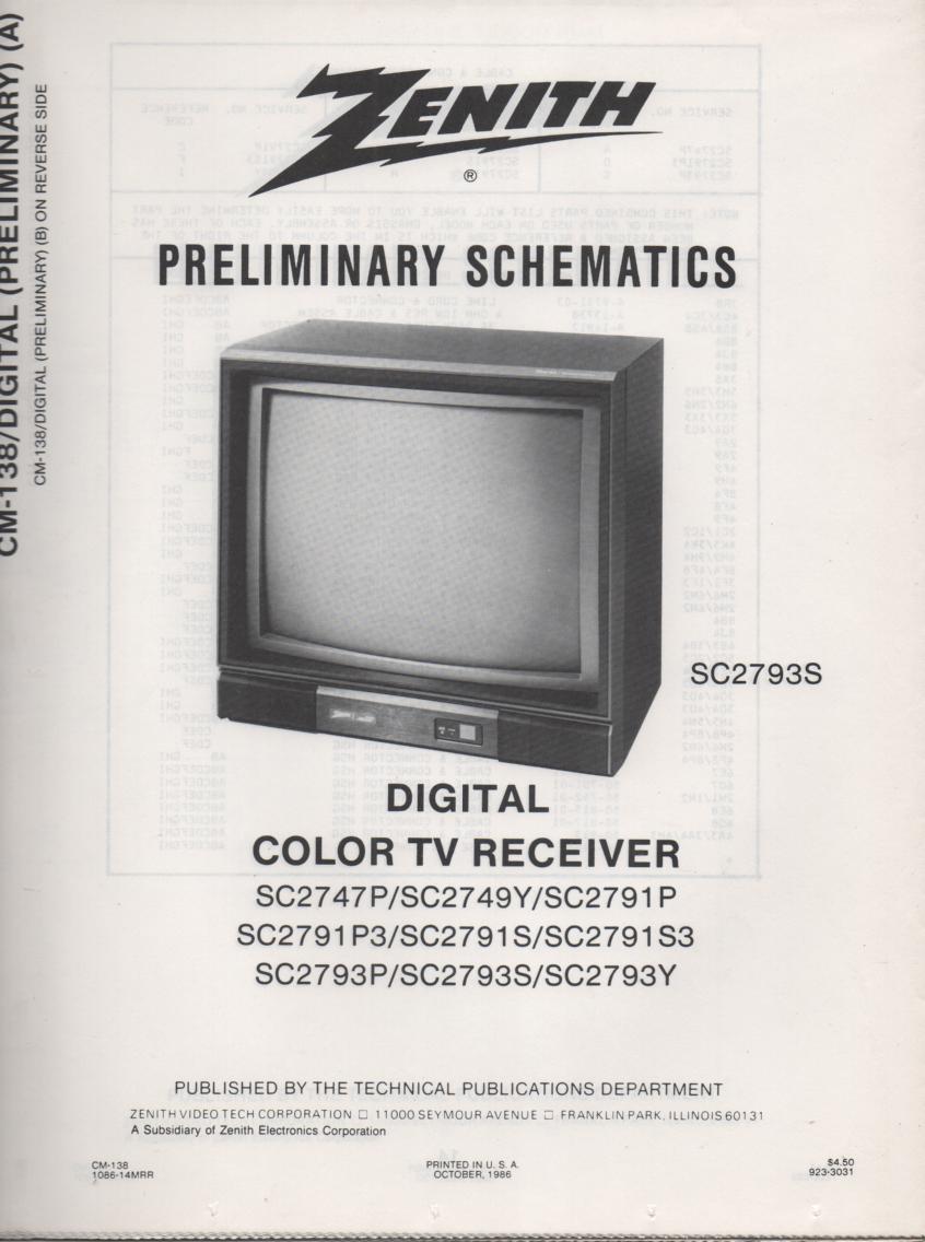 SC2793P TV Schematic ..  SC2747P Manual