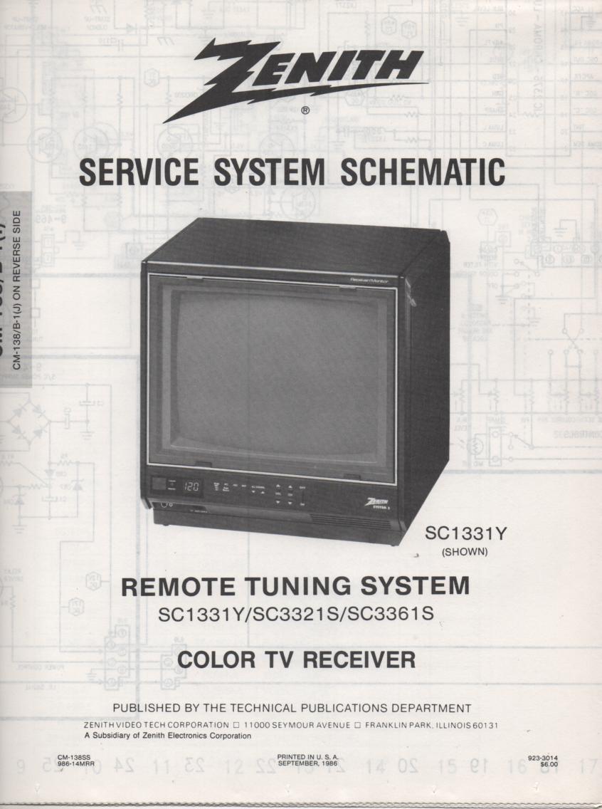 SC3361S TV Schematic ..  SC1331Y Manual