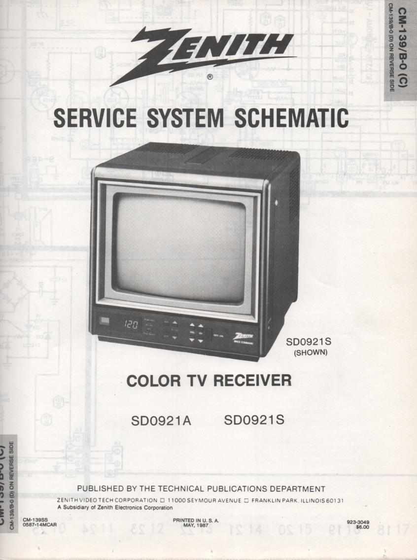 SD0921S TV Schematic ..  SD0921A Manual