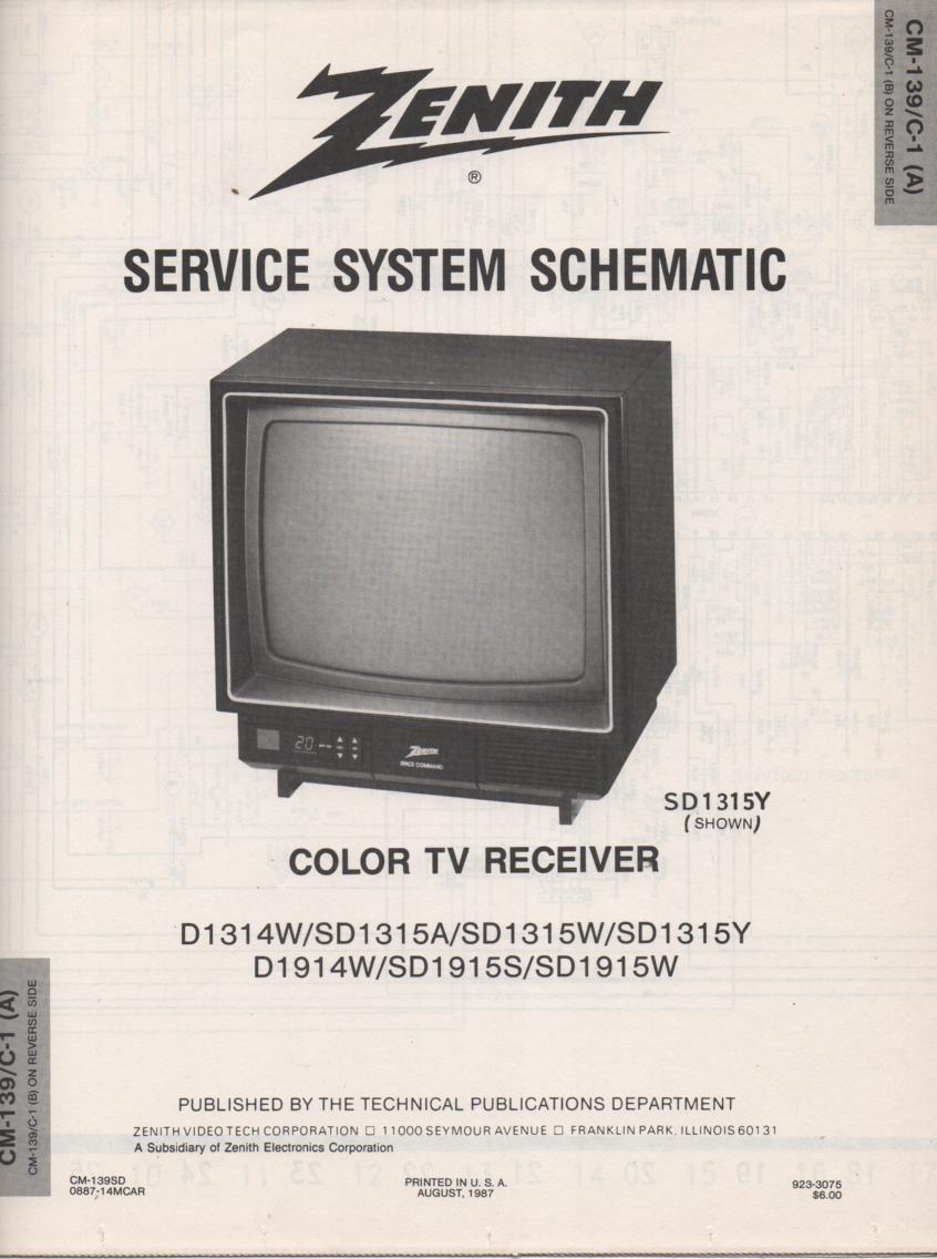 SD1315Y  TV Schematic ..  D1314W Manual