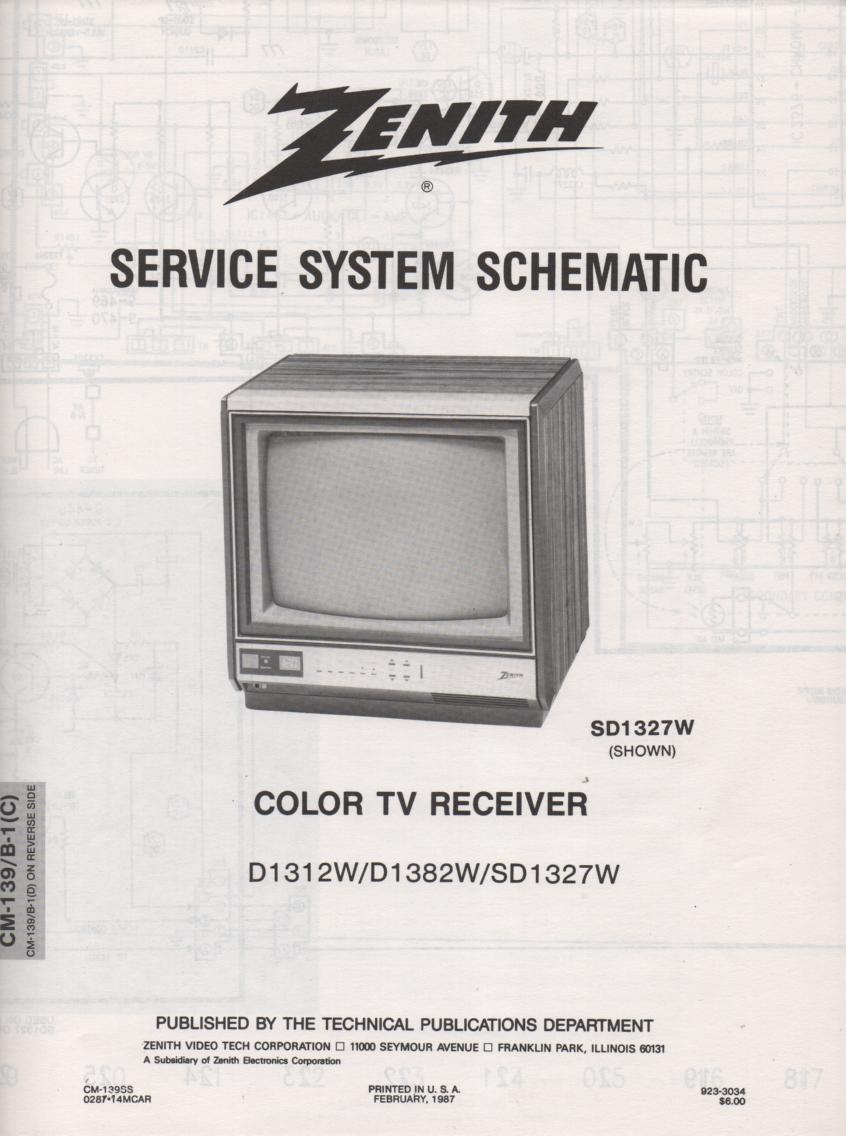 SD1327W  TV Schematic ..  D1327W Manual