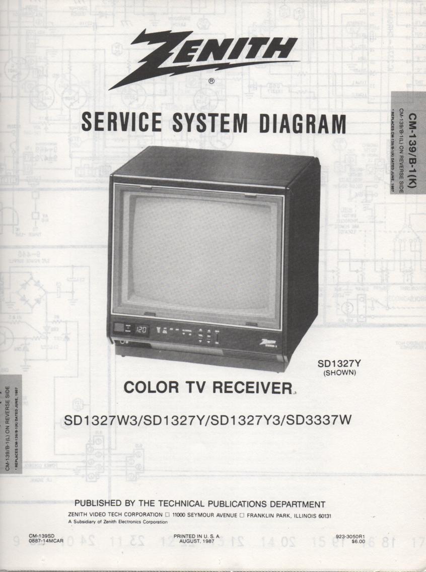 SD1327Y  TV Schematic ..  D1327W Manual
