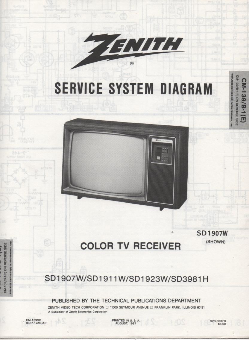 SD1911W  TV Schematic ..  SD1907W Manual