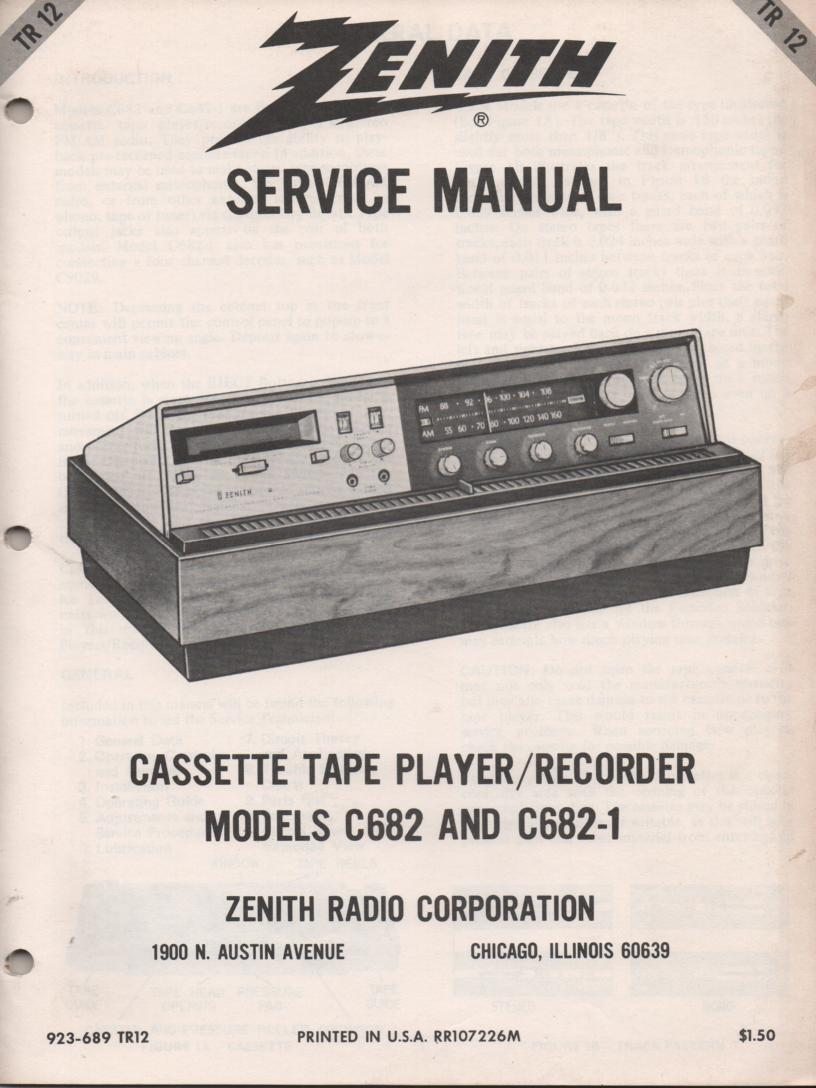 C682 C682-01 Radio Cassette Recorder Player Service Manual TR12