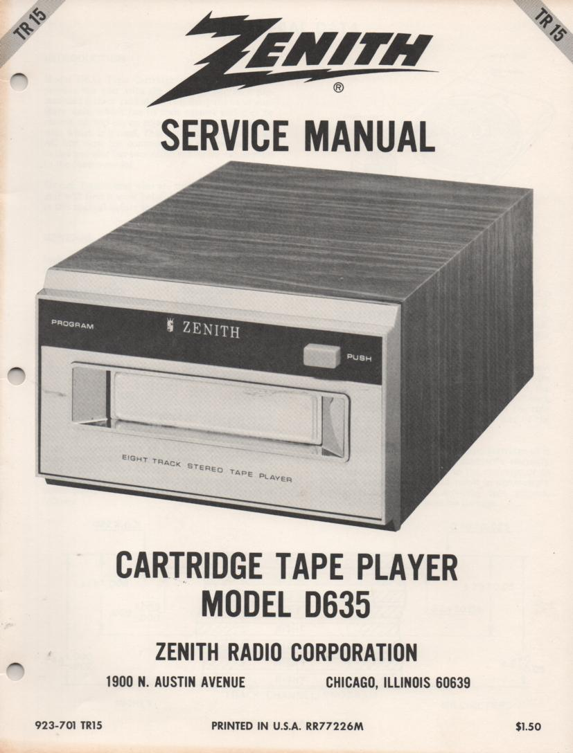 D635 8-Track Tape Player Service Manual TR15