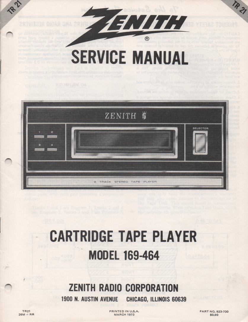 169-464 8-Track Tape Player Service Manual TR21
