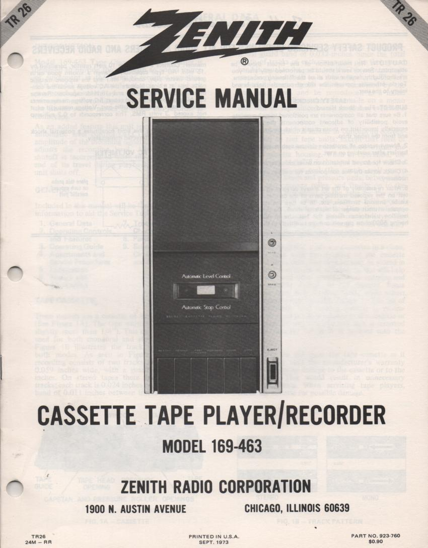 169-463 Cassette Tape Player Recorder Service Manual TR26