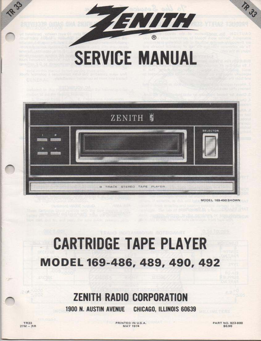 169-486 169-489 169-490 169-492 8-Track Tape Player Service Manual TR33