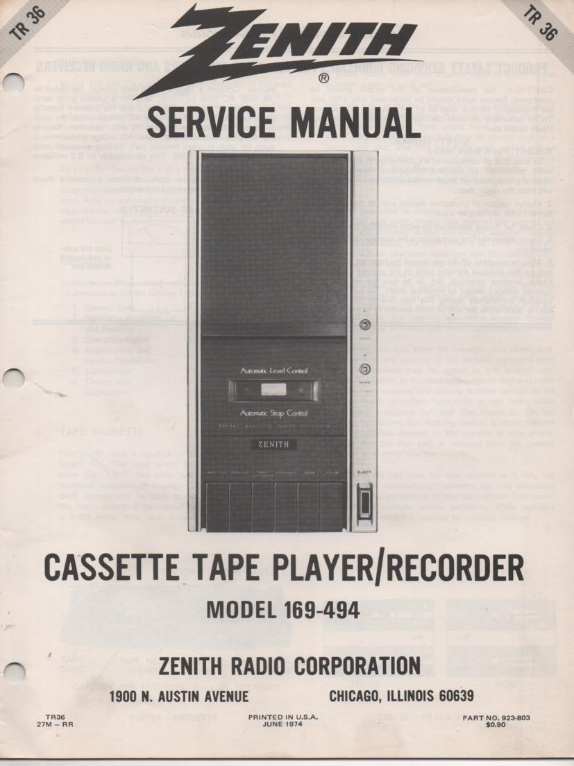 169-494 Cassette Tape Player Recorder Service Manual TR36