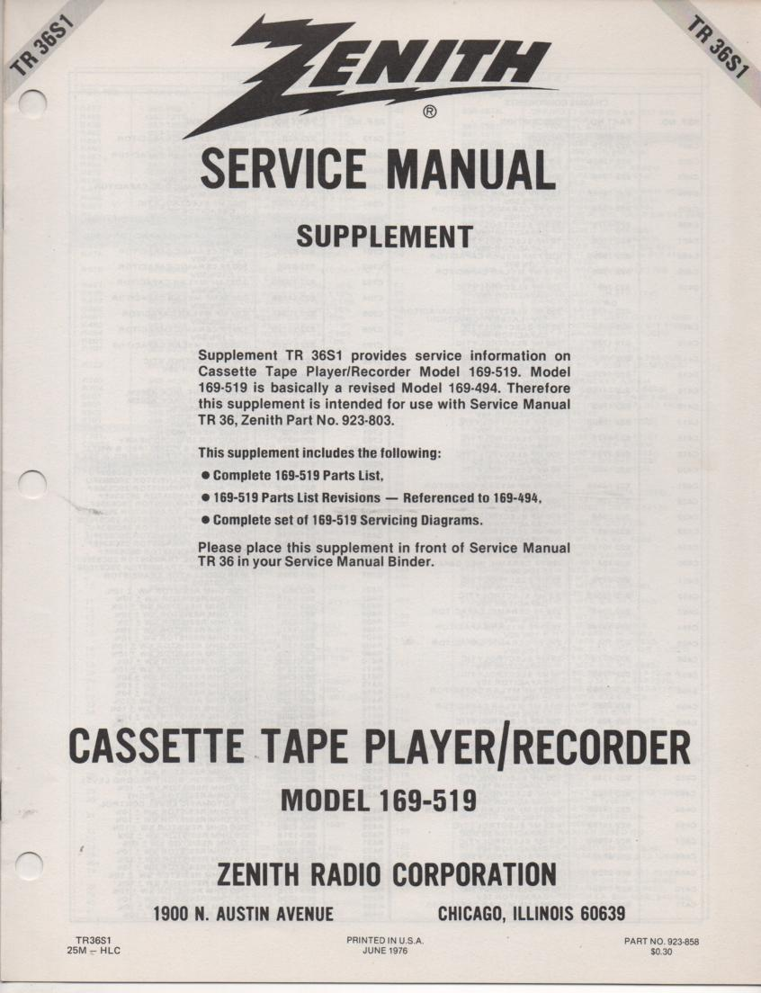 169-519 Cassette Tape Player Recorder Service Manual TR36S1;;