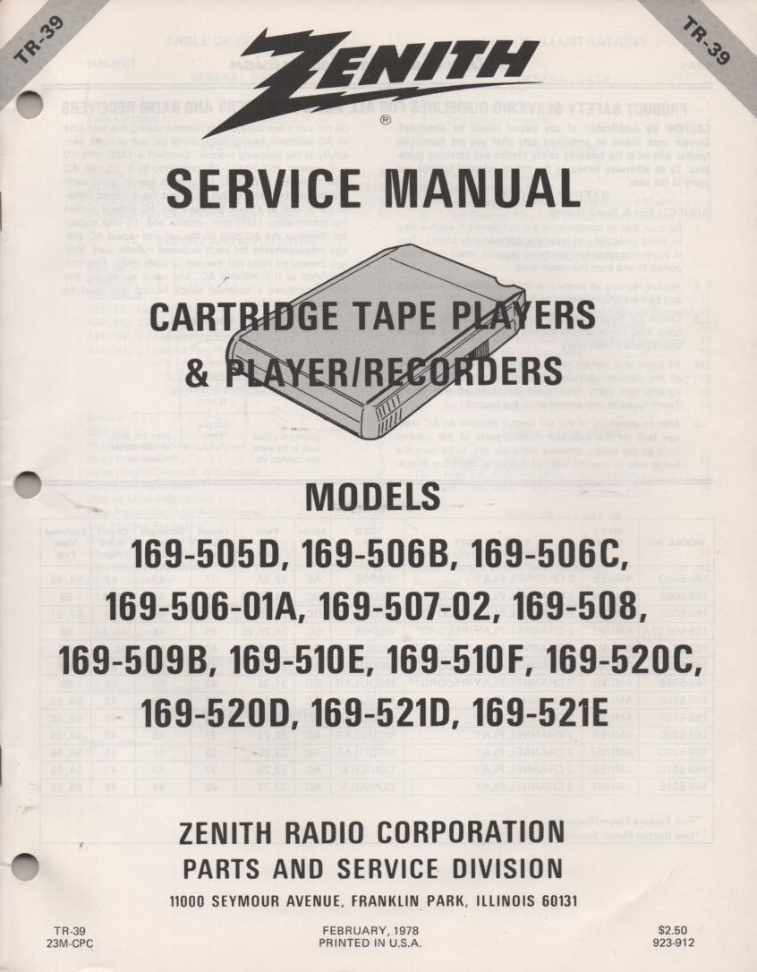 169-506 169-506B 169-506C 169-506-1A 8-Track Player Recorder Service Manual TR39