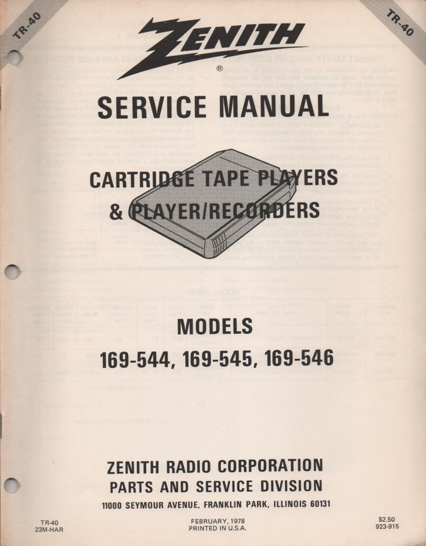 169-544 169-545 169-546 8-Track Player Recorder Service Manual TR40
