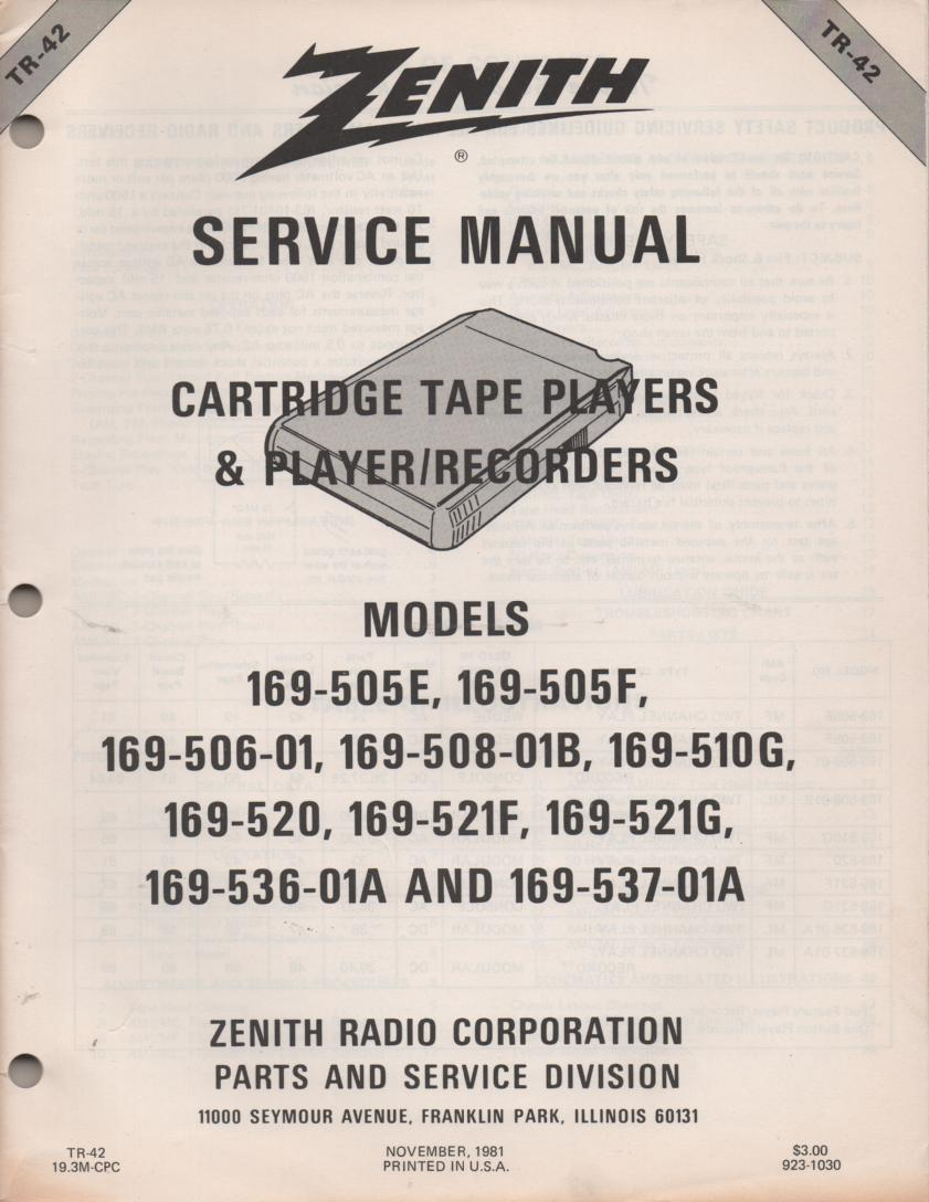169-505E 169-505F 169-506-01 8-Track Player Recorder Service Manual TR42