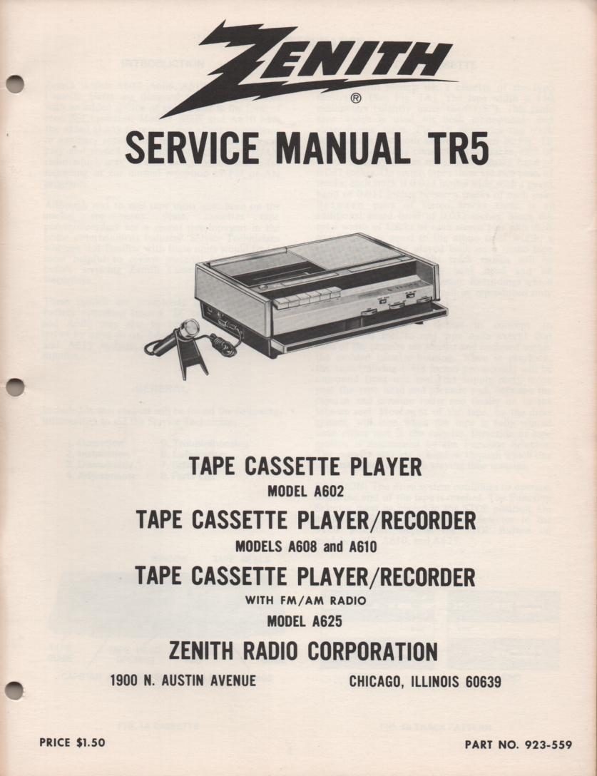 A602 A608 A610 A625 Radio Cassette Service Manual TR5