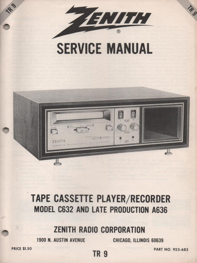 A636 Late C632 Cassette Player Recorder Service Manual TR9
